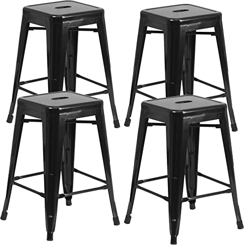 Vogue Furniture Direct 24 High Backless Black Metal Barstool Indoor-oudoor Counter Height Stool