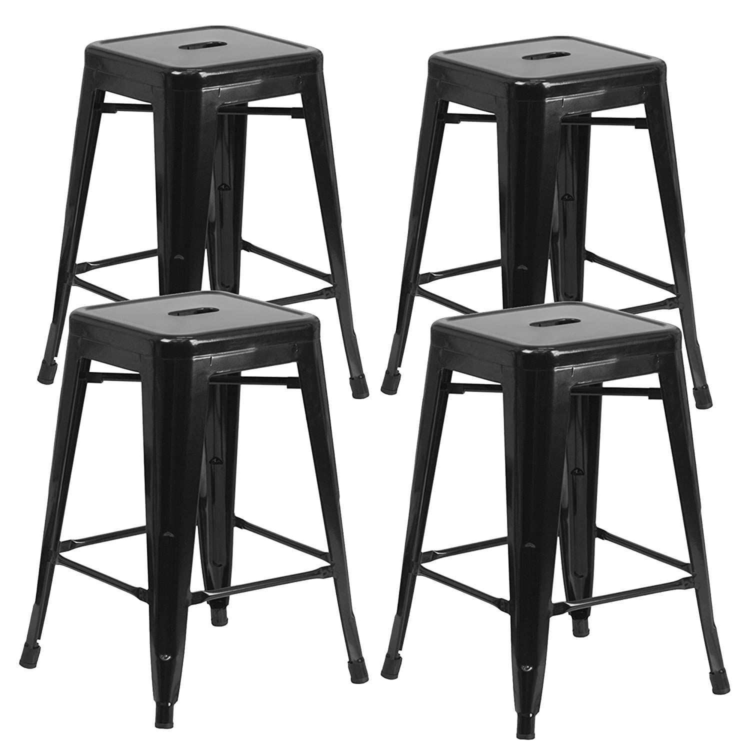 Vogue Furniture Direct 24 High Backless Black Metal Barstool Indoor-oudoor Counter Height Stool with Square Seat, Set of 4,