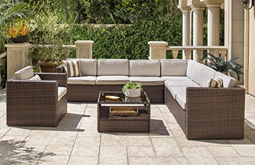 SOLAURA 7-Piece 8 Seats Outdoor Sectional Furniure Brown Wicker Conversation Sofa Set