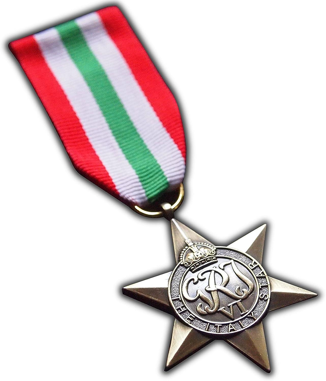 La medalla de Militar de Italia Star Signs Commonwealth Británico Militar del Ejército de premio para | | Azul Marino | RAF | réplica George VI: Amazon.es: Deportes y aire libre