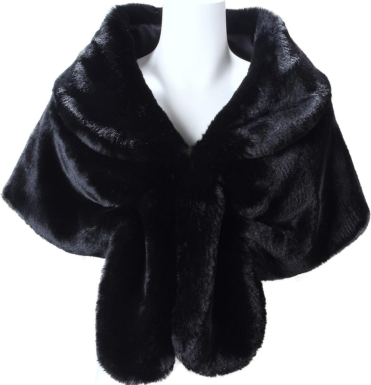 zrshygs Womens Lady Artificial Fur Shawl Wrap White Shrug Off Hombro Cabo Pashmina con una Faux Pearl Ball Nupcial Wedding Party Jacket