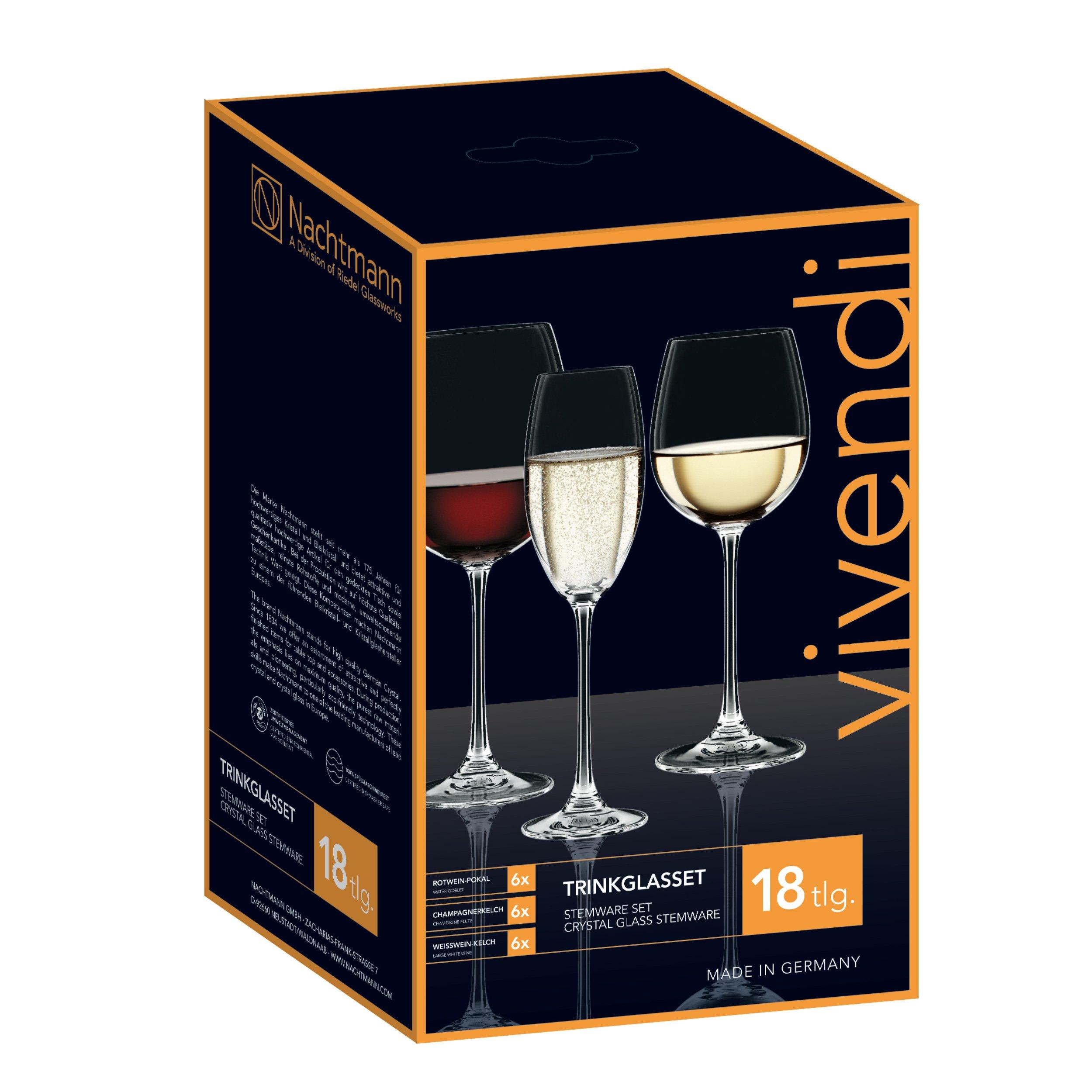 Nachtmann Vivendi 18 Piece Red, White, and Champagne Wine Glass Set