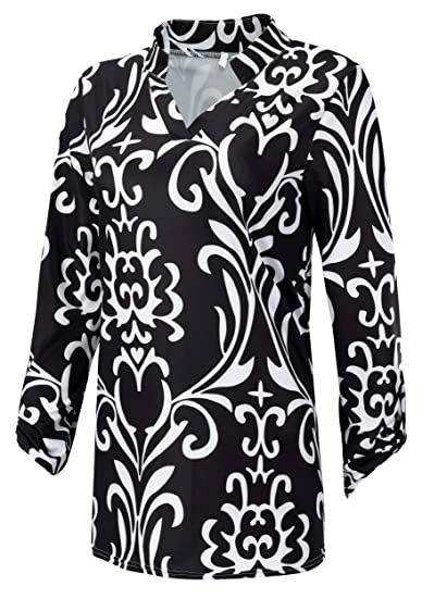 2e8955c18d8 Foucome Womens Floral Printed Tunic Shirts 3 4 Roll Sleeve Notch Neck Tunic  Top at Amazon Women s Clothing store