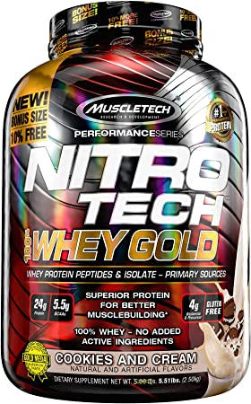 Performance Series Nitro-Tech 100% Whey Gold 5 lb (2270 g) Galletas y crema