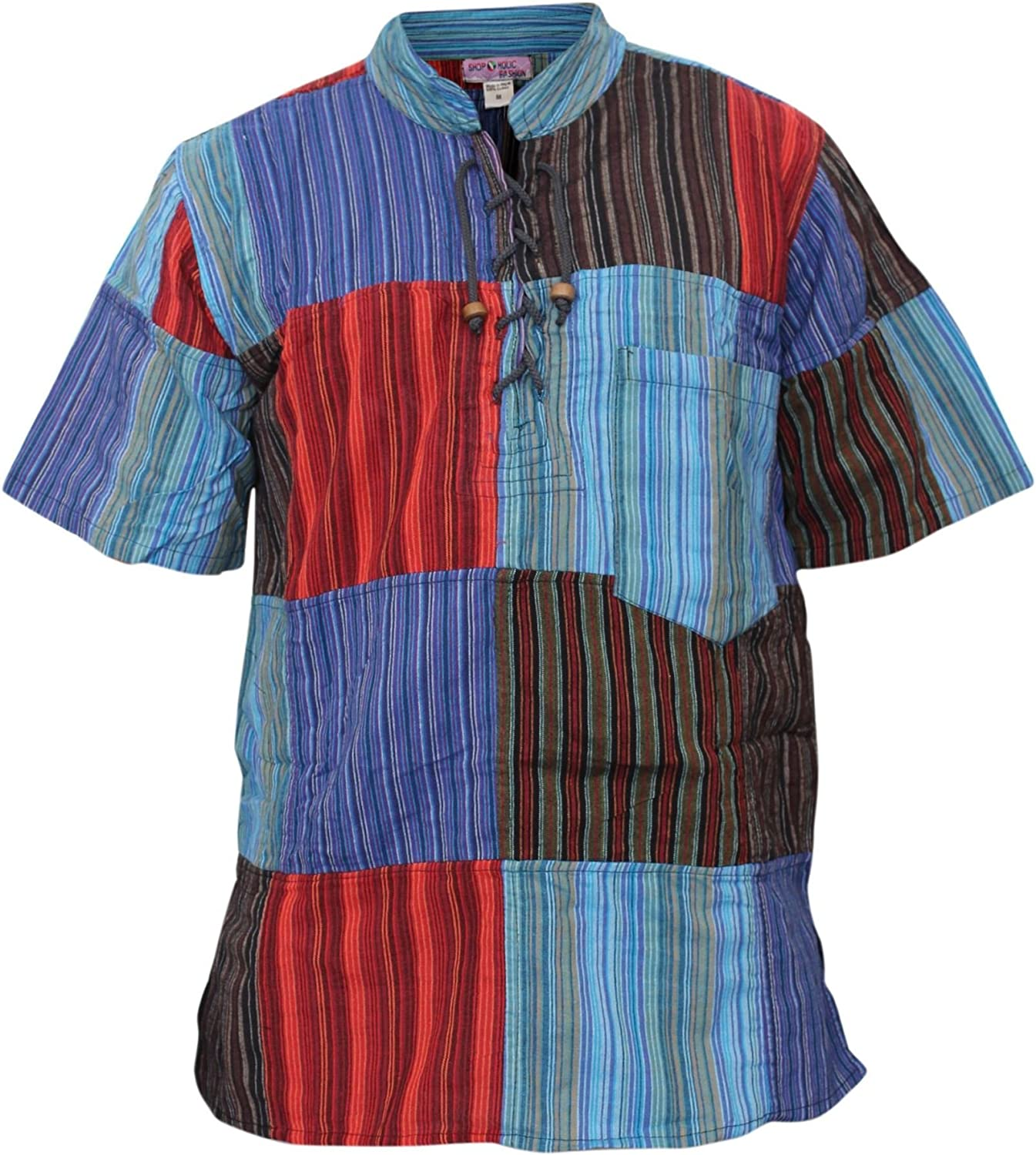 60s , 70s Hippie Clothes for Men Shopoholic Fashion Mens Half Sleeve Patch Hippie Grandad Shirt $27.99 AT vintagedancer.com