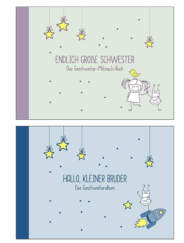 """Geschenk zur Geburt für Geschwister:""""Endlich große Schwester"""" +""""Hallo, kleiner Bruder"""" (Erinnerungs-/Foto-Album,Öko, Recycling-Papier) Öko Deko-und-Geschenke-Shop"""
