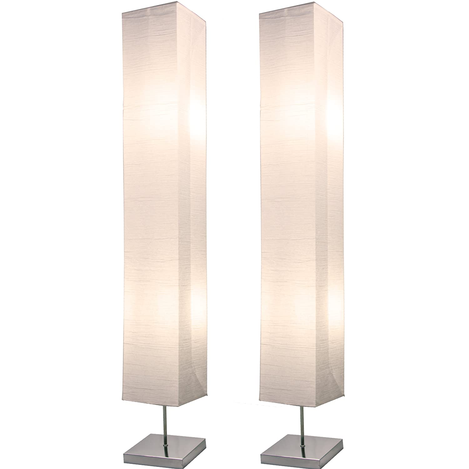 Light Accents Honors Chrome Floor Lamp Japanese Style Standing 50 Inches Tall with White Paper Shade (Set of 2)