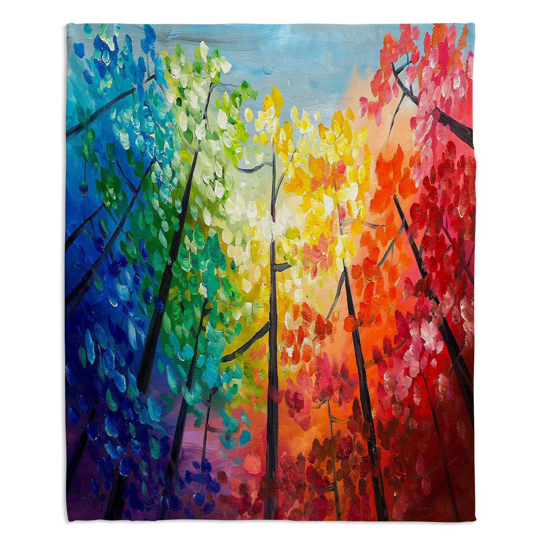 ブランケットウルトラソフトFuzzy 4サイズホーム装飾寝室ソファスローブランケットダイアノウチェデザインズ – Artist Lam Fuk Tim – Colorful Trees VI Medium 60