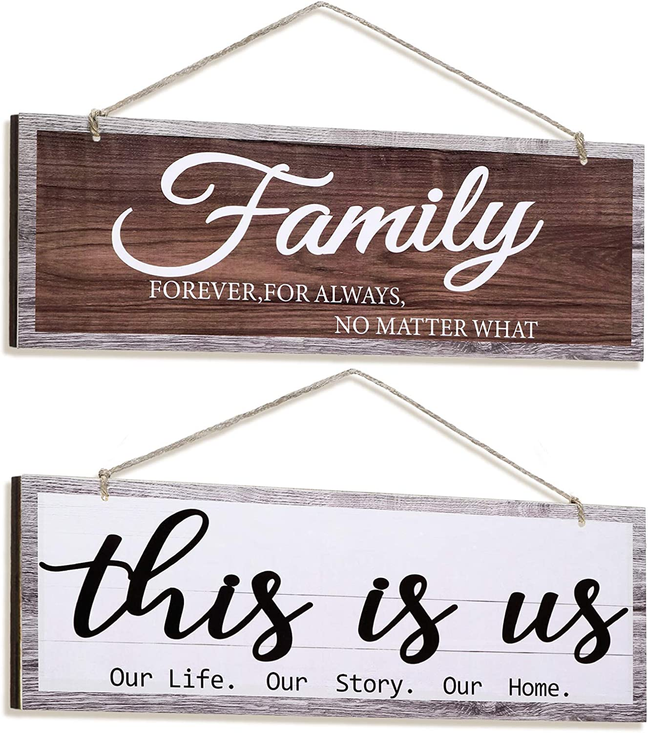 Jetec 2 Pieces This is Us Rustic Wood Wall Sign Family Hanging Wall Decorations Printed Wood Sign for Friends Living Room Bedroom Kitchen Dining Room Farmhouse Entryway Decor, 4.7 x 13.8 Inch