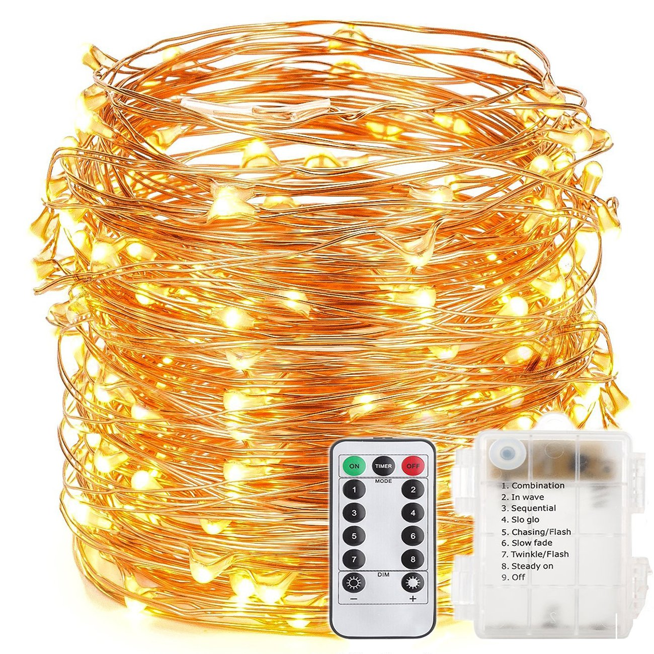 EAGWELL 200 LED Fairy String Lights Battery Operated String Lights 65.6 ft Copper Wire Decorative Christmas Lights for Bedroom Wedding Halloween Thanksgiving Christmas Decor -Warm White