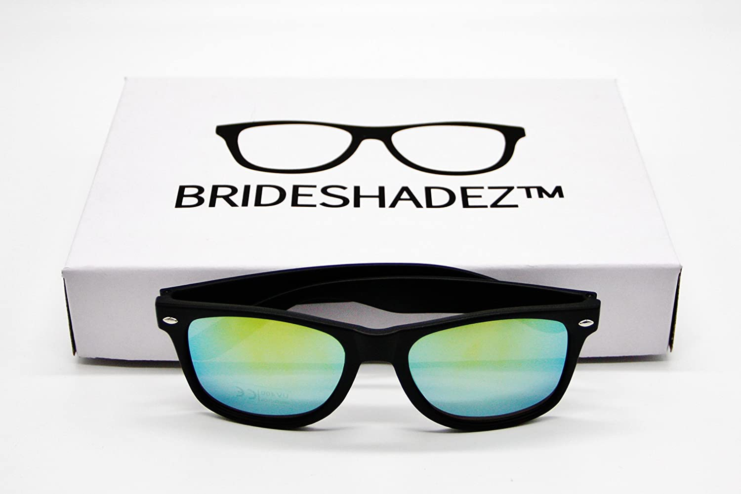 Amazon.com: Bridal Party Sunglasses (Set of 6 with golden mirror ...