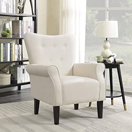 Amazon.com: Belleze Modern Accent Chair Roll Arm Linen Living Room ...