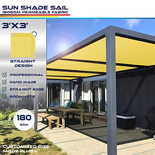 Windscreen4less Straight Edge Sun Shade Sail,Rectangle Outdoor Shade Cloth Pergola Cover UV Block Fabric 180GSM – Custom Size Canary Yellow 3 X 3