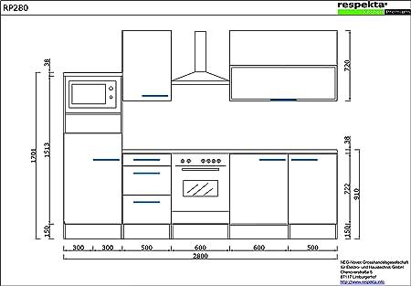 respekta Premium Instalación de Cocina Cocina 280 cm ...