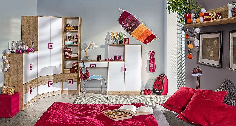 Kinderzimmer Komplett - Set C Fabian, 6-teilig, Farbe: Eiche Hellbraun/Weiß/Rosa