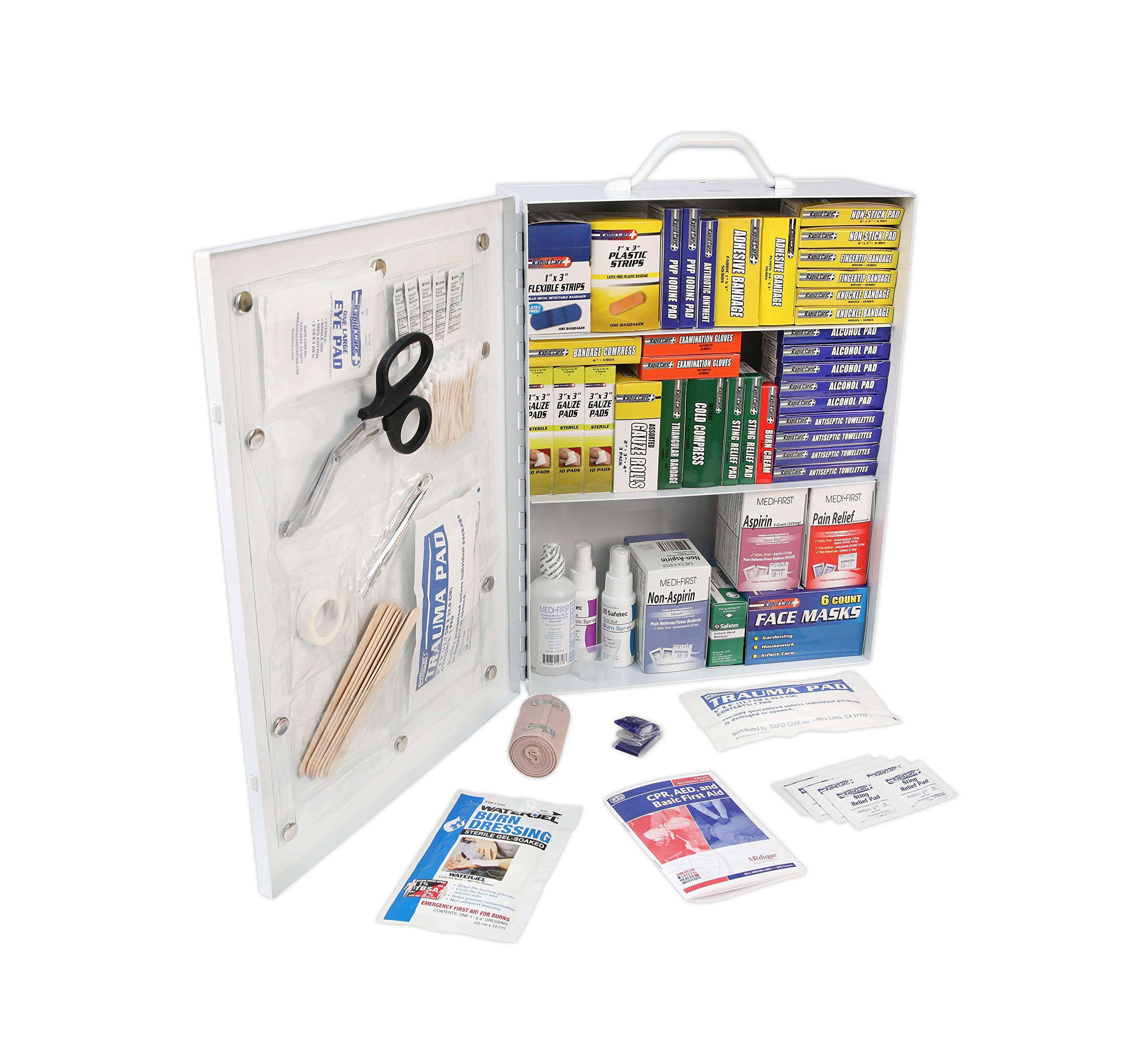 Rapid Care First Aid 80098 3 Shelf All Purpose First Aid Kit Cabinet, Class A+, Exceeds OSHA/ANSI Z308.1 2015, Wall Mountable, Over 1,100 Pieces by Rapid Care First Aid
