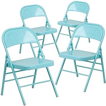 Flash Furniture 4 Pk. HERCULES COLORBURST Series Tantalizing Teal Triple  Braced U0026 Double Hinged Metal