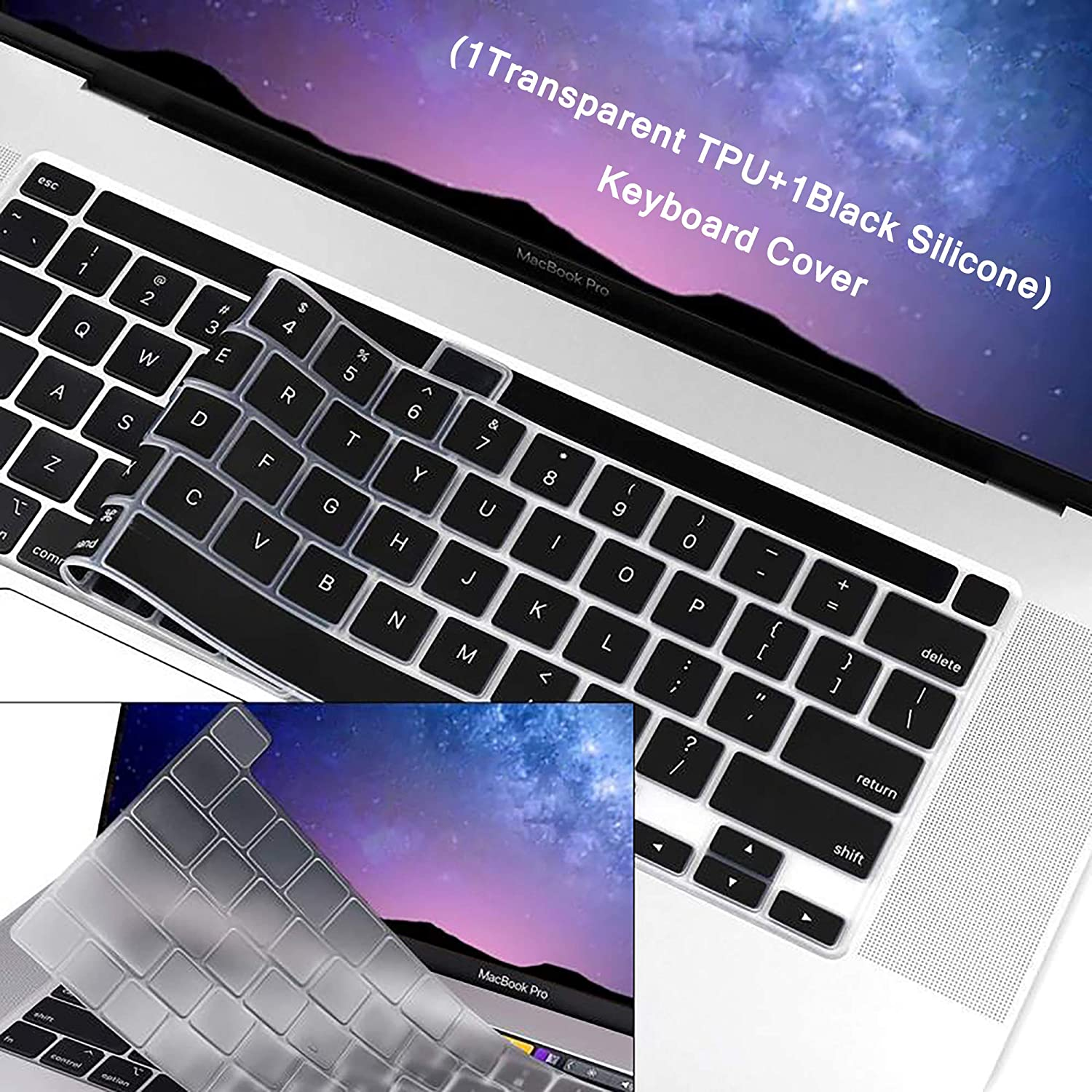 "WENWELL 2pcs Keyboard Cover Skin Compatible with New MacBook Pro 13 inch A2289 A2251 & 2019 MacBook Pro 16"" A2141,1 Silicone + 1 TPU Protective Pretector for 2020 Release Apple Laptop Accessories"