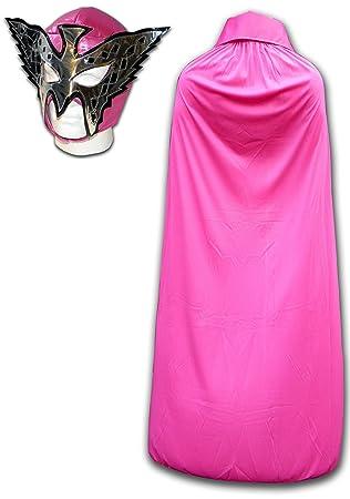 Luchadora rosa princesa hembra de lucha libre disfraz máscara y capa