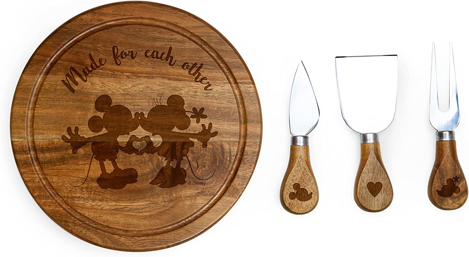 Disney Classics Mickey and Minnie Mouse Brie Acacia Wood Cheese Board Set with Cheese Tools