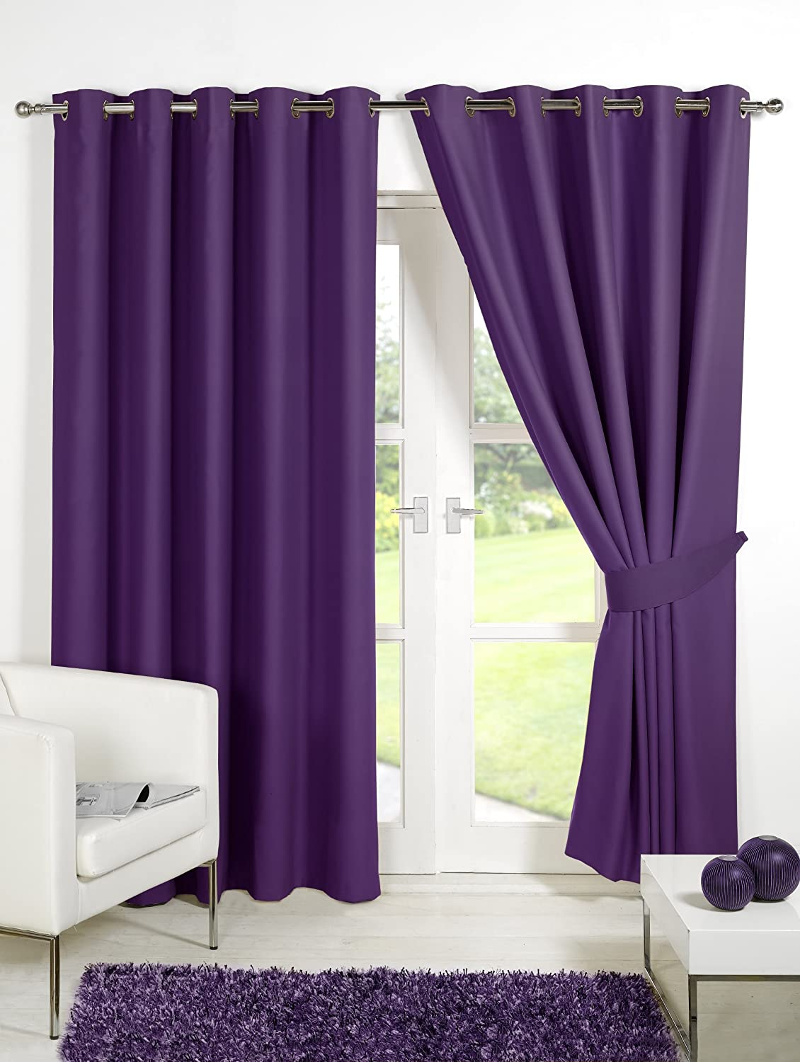 Viceroybedding Pair Of PLUM PURPLE 90 Width X 54 Drop Supersoft Thermal Blackout EYELET RING TOP Curtains Including Matching Tie Backs