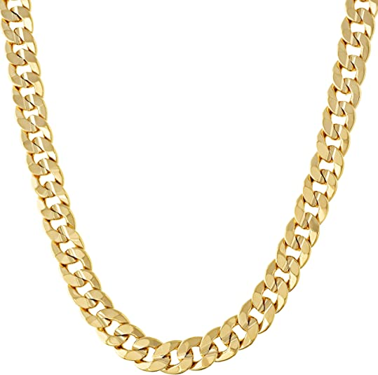 LIFETIME JEWELRY 6mm Cuban Link Chain Necklace 24k Gold Plated for Men and Women (Gold, 22)   Amazon.com