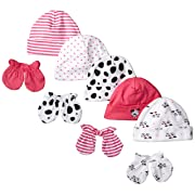 Gerber Baby-Girls Newborn Dalmatian Caps and Mitten Bundle, Dalmatian, New Born (Pack of 5 and 4)