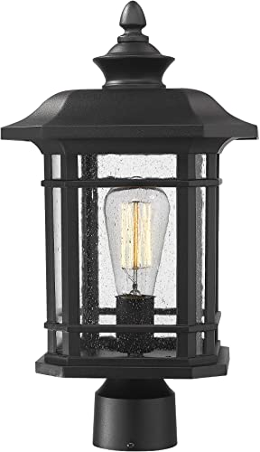 Emliviar Outdoor Post Lighting Fixture 17 inch, 1-Light Exterior Post Light in Black Finish with Seeded Glass, A2202110P1 Renewed