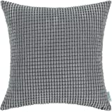 CaliTime Throw Pillow Cover Case for Couch Sofa Bed, Comfortable Supersoft Corduroy Corn Striped Both Sides, 18 X 18 Inches, Grey