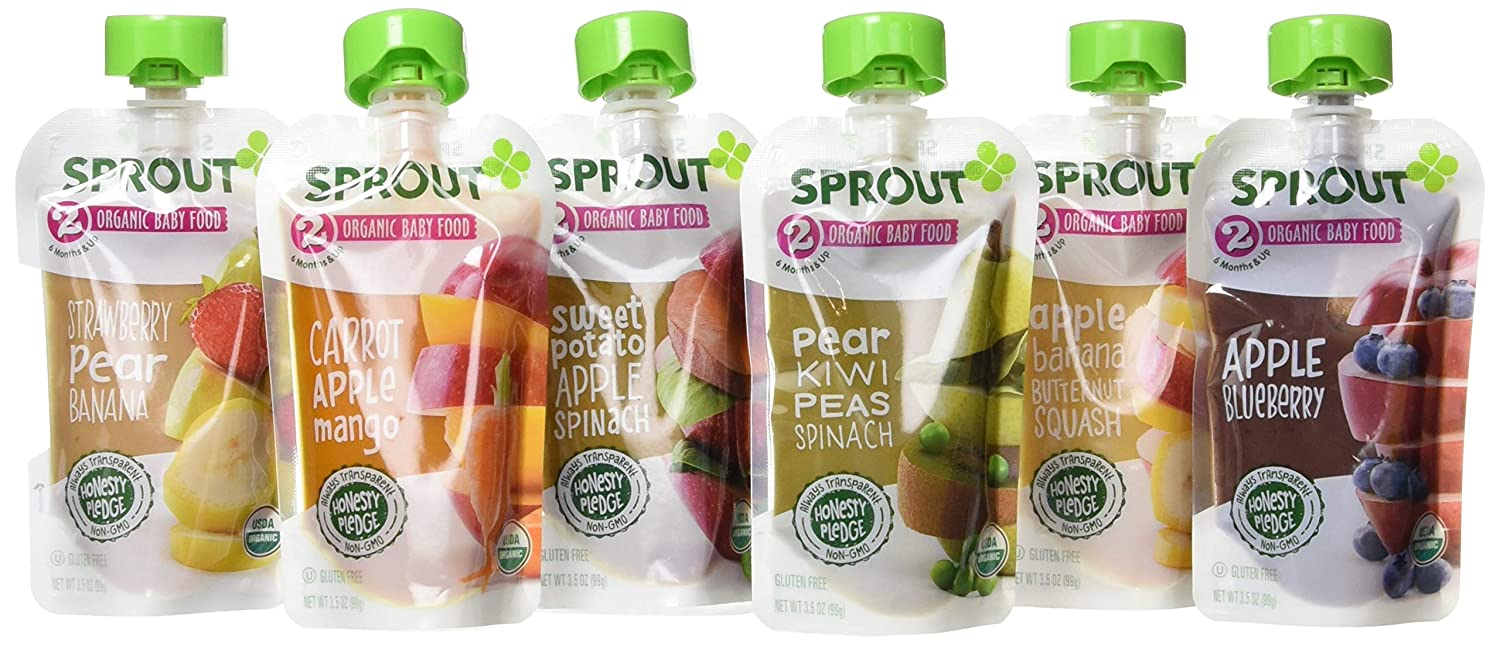 Sprout Organic Stage 2 Baby Food Pouches, Organic Veggie and Fruit Puree Sampler (Pack of 12)