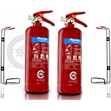 PREMIUM FSS UK 2 X 2 KG ABC DRY POWDER FIRE EXTINGUISHER. BSI KITEMARKED IDEAL FOR BOATS HOMES KITCHEN WORKPLACE OFFICES CARS VANS WAREHOUSES GARAGES HOTELS RESTAURANTS