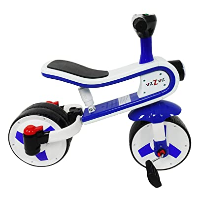 veZve Toddler Kids Blue Tricycle Convertible Balance Bike 24 Months to 6 Years Preschool Safe Ride-on 2 in 1 Toy Walker: Sports & Outdoors