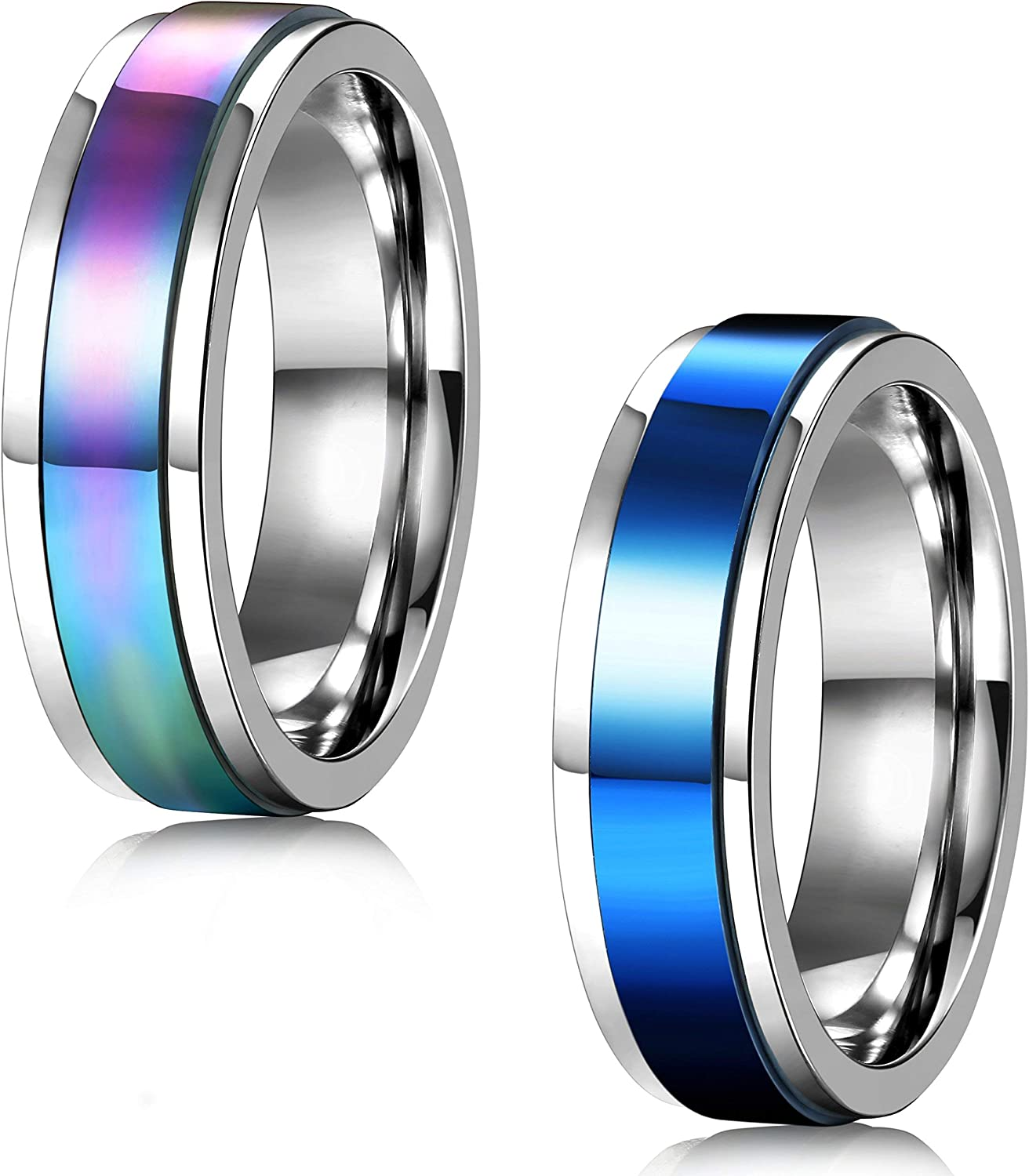 FIBO STEEL 2 Pcs 6-8MM Stainless Steel Spinner Rings for Men Women Promise Ring,Size 5-13