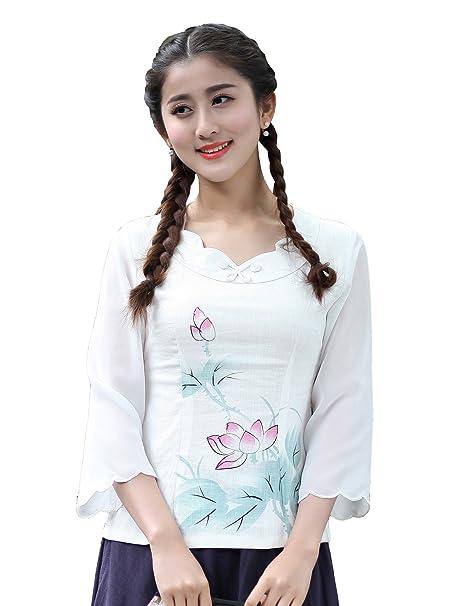 YueLian Mujeres Verano Manga 3/4 Patrón de Loto Elegante Modificado Blusa de Lino Saco