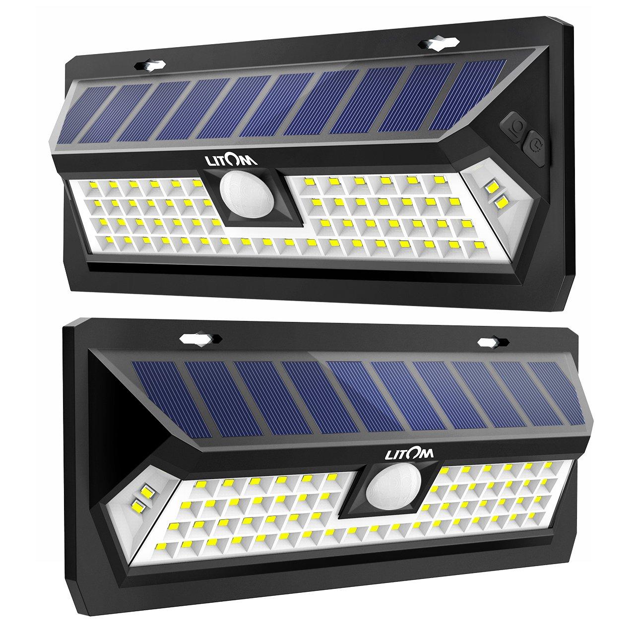 LITOM Solar Lights Outdoor 62 LED, Adjustable Lighting Time Solar Motion Sensor Light with 270° Wide Angle and Waterproof Design, Wireless Solar Lighting for Front Door, Yard, Garage, Deck (2 Pack)