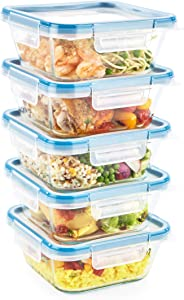 Snapware Meal Prep and Food Storage (10-Piece Set, BPA Free Leakproof Lids, Square Oven Safe Containers, Made with Pyrex Glass)