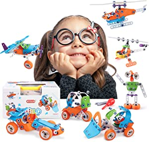BeebeeRun STEM Building Toys Kit Vehicle Building Blocks Creative Construction Engineering Learning Toys 7 Model for 5+ Years Old