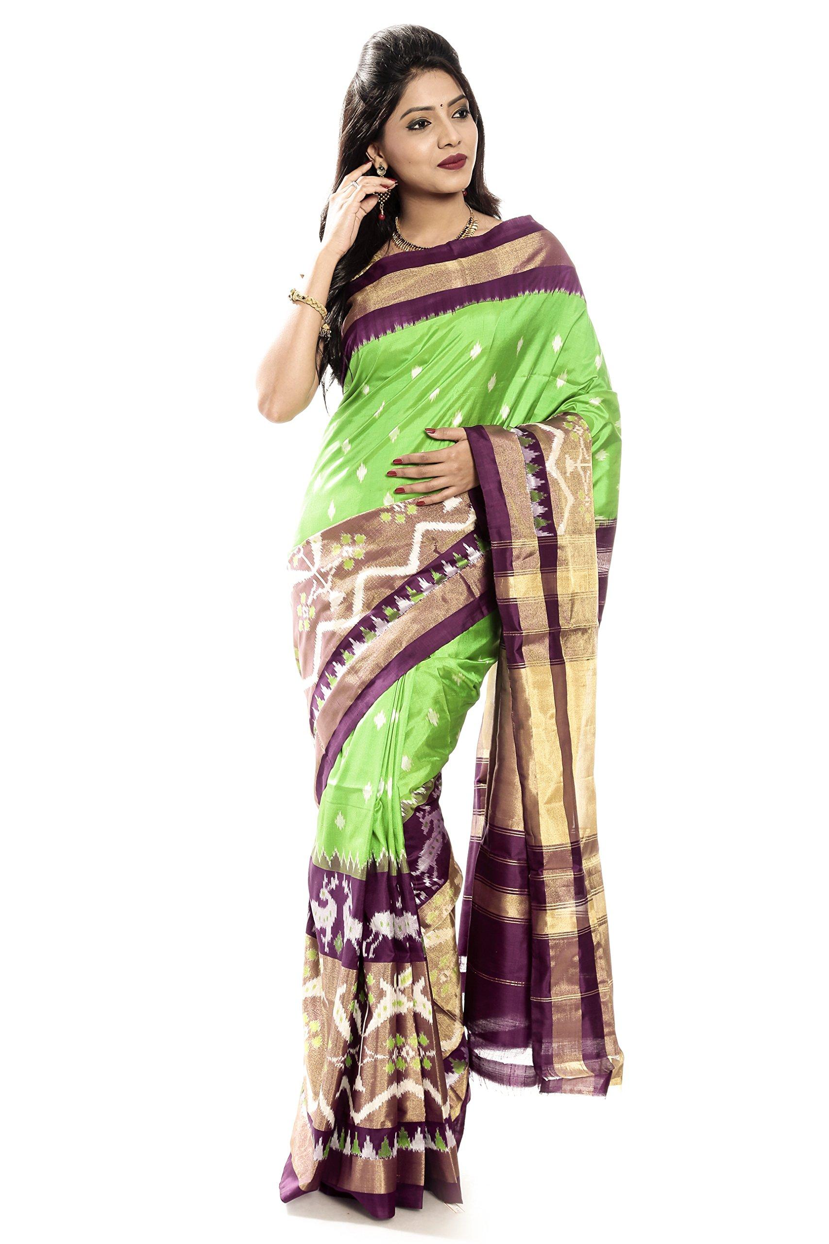 Mandakini — Indian Women's Pochampally - Handloom - Ikat Pure Silk Saree (Light Green- Maroon ) (MK337)