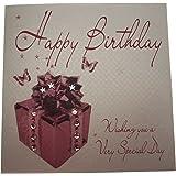 """White cotton cards WB187 - Biglietto d'auguri per figlia, realizzato a mano con scritta """"Happy Birthday"""" e immagine di pacchetto regalo, colore bianco"""