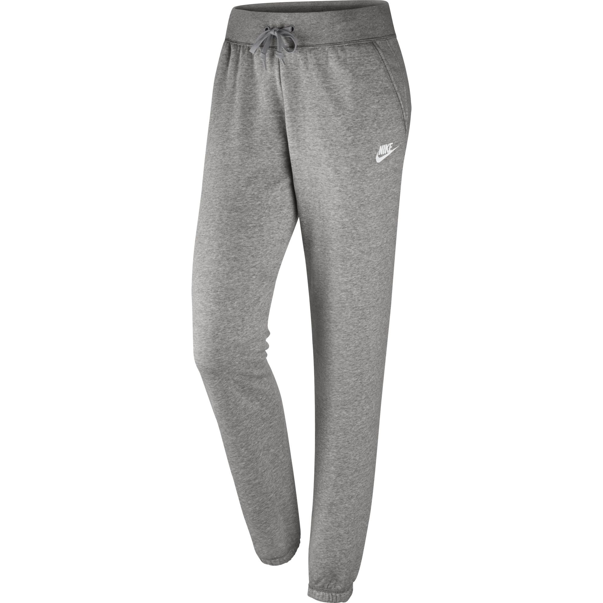 NIKE Women's Sportswear Loose Fleece Pants, Dark Grey Heather/Matte Silver/White, Small