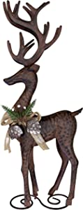Clovers Garden Rustic Metal Standing Reindeer Christmas Decoration Farmhouse Deer Figurine Statue Vintage Holiday Reindeer Home Decor