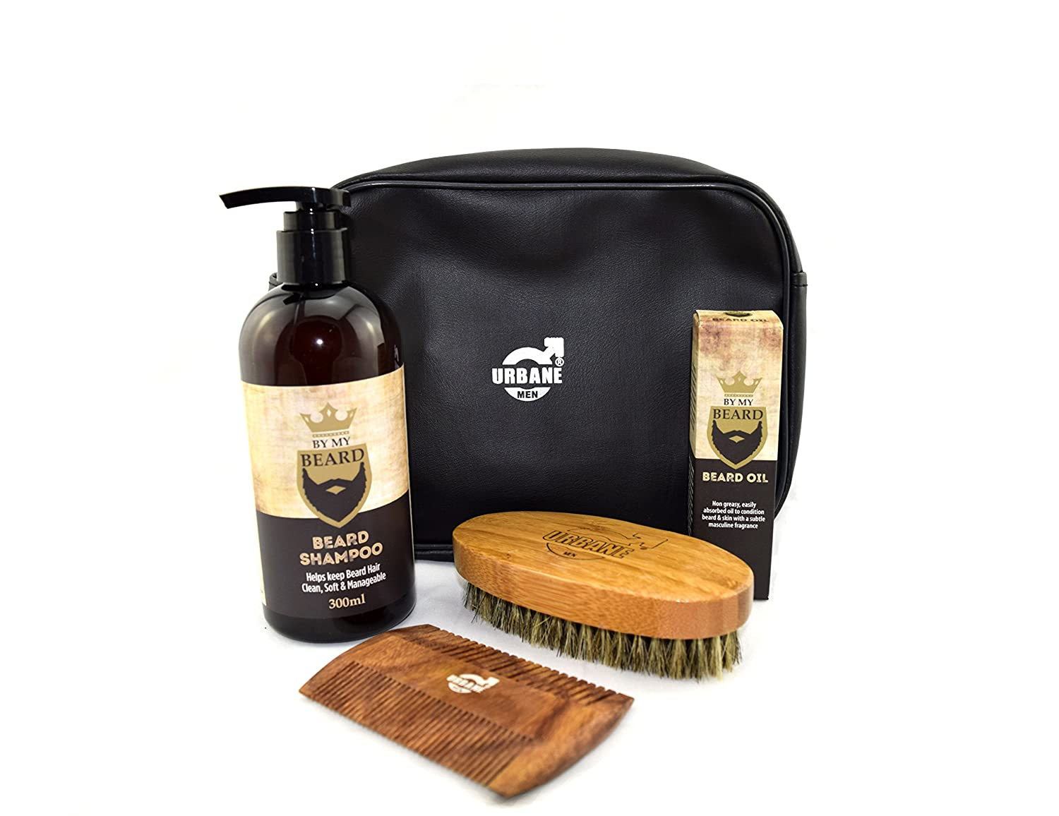 0a688215d03c Urbane Men Beard Care Grooming Kit with Wash Bag - Beard Shampoo, Oil,  Brush and Comb Gift Set