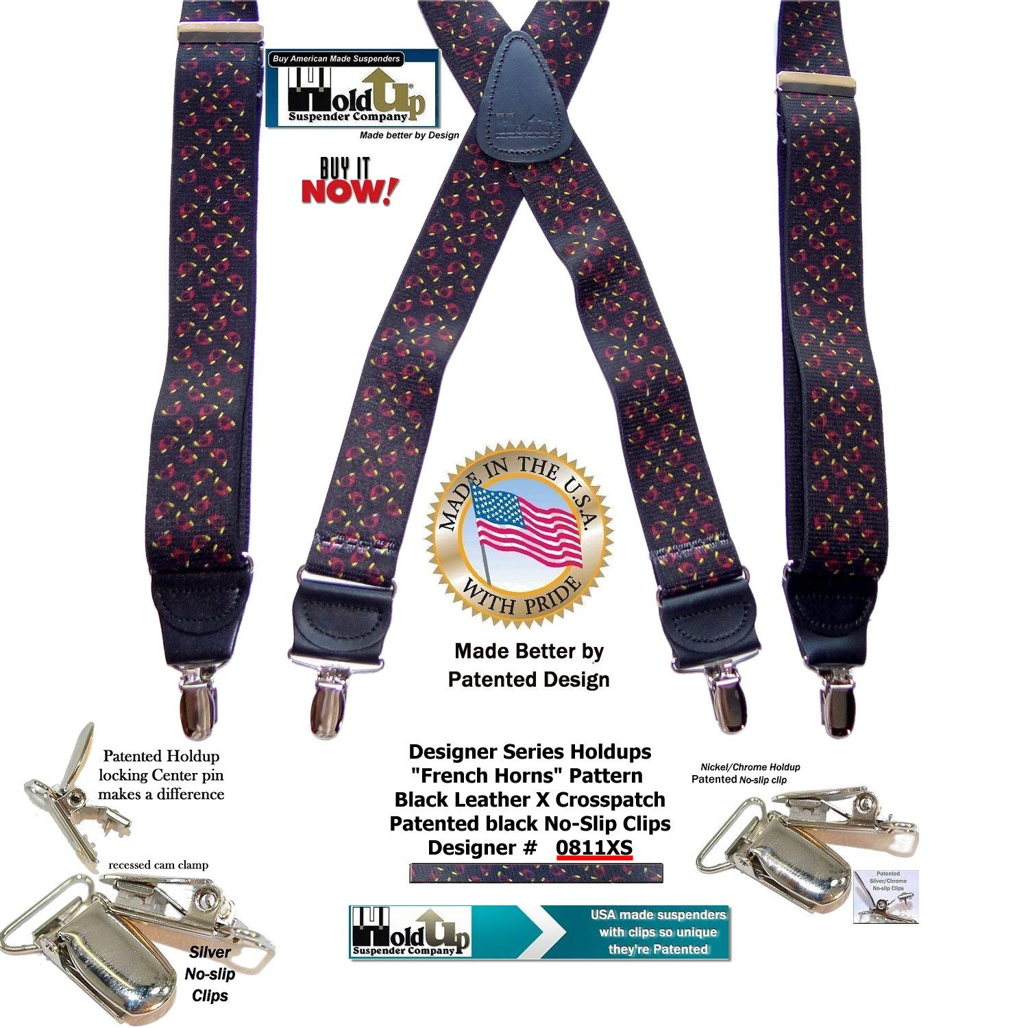French Horn Pattern 1 1//2 wide Hold-Ups X-back Suspenders with No-slip Nickel plated center pin Clips