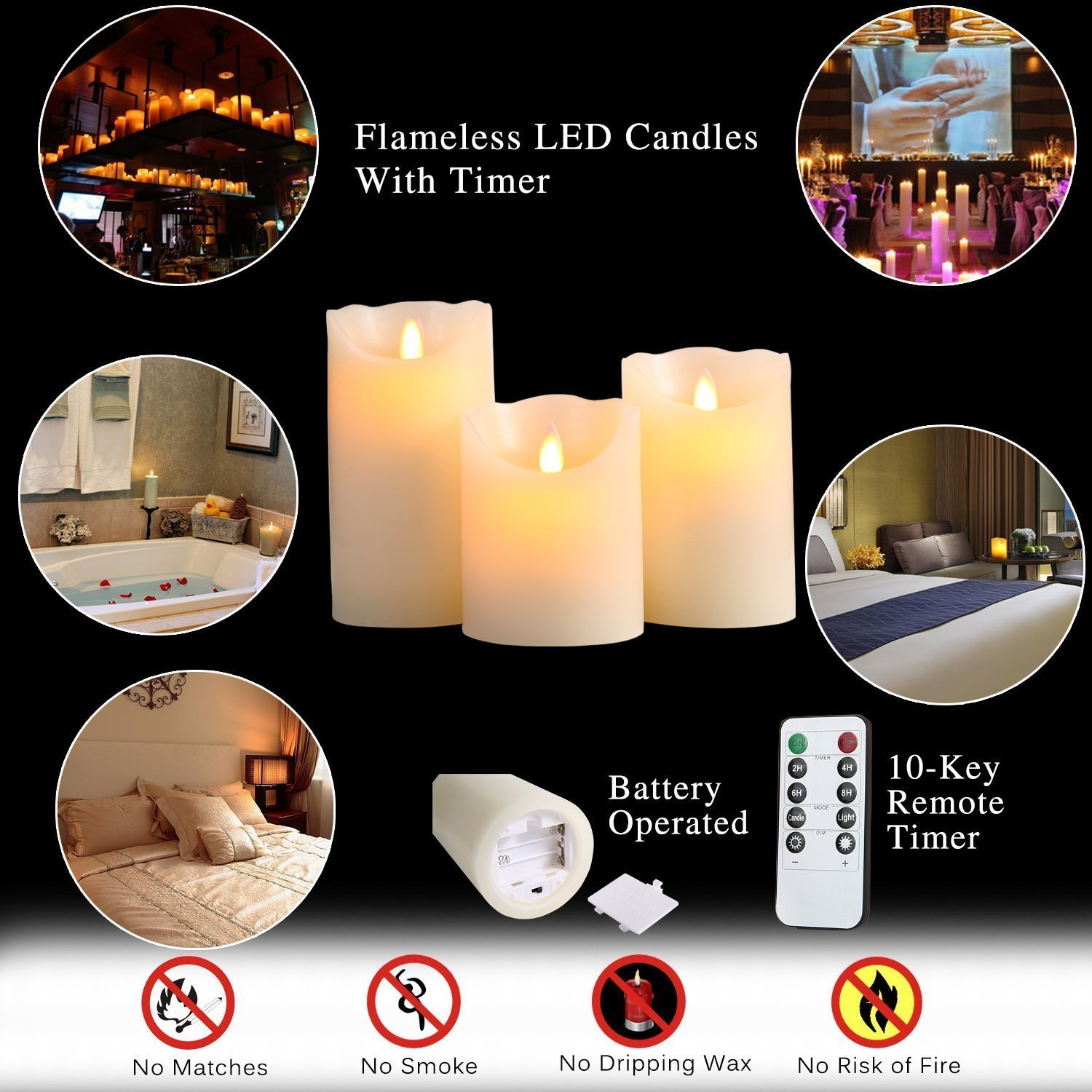 Bingolife Flameless Candles 4 5 6 Real Wax Moving LED Flame with 10-key Remote Control Ivory Set of 3 2//4//6//8 Hours Timer