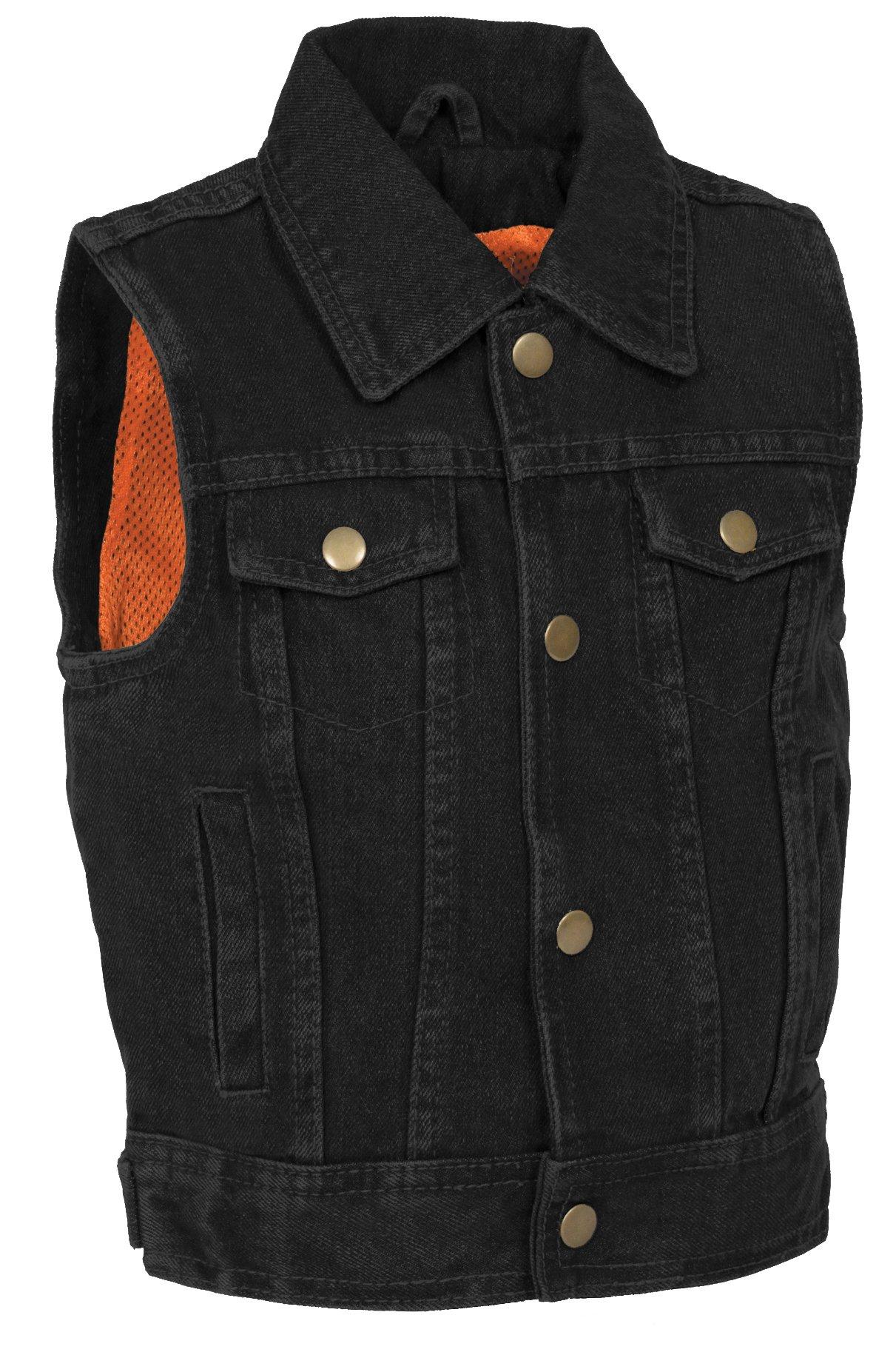 Milwaukee Performance Denim Unisex-Child Kid's Shirt Collar Snap Front Vest (Black, XX-Large)