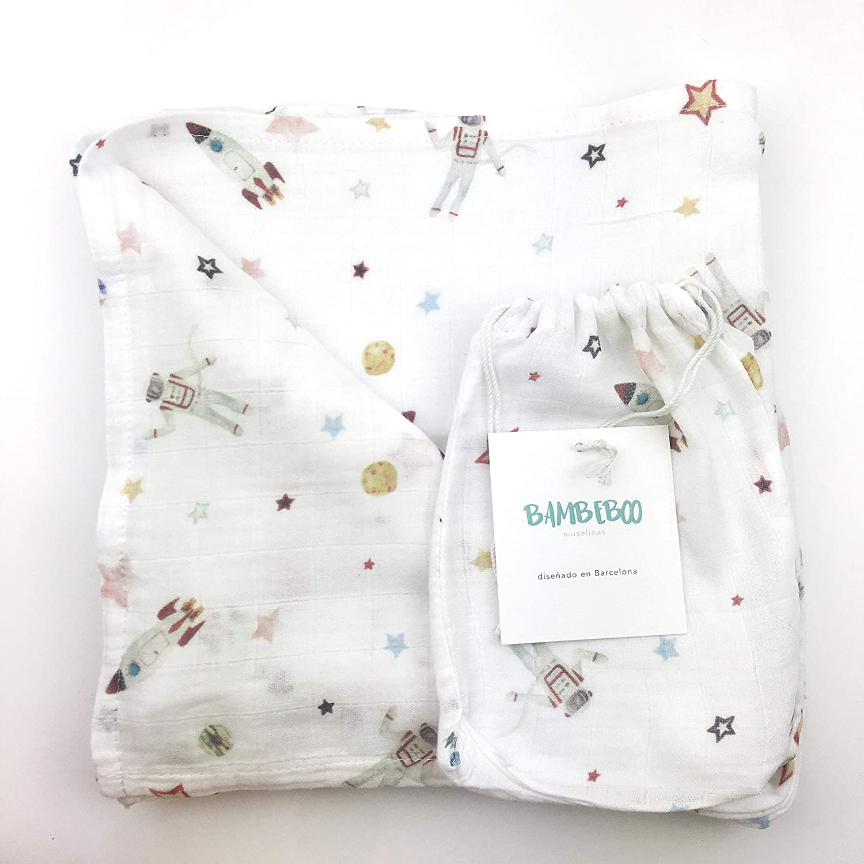 30/% algod/ón ecol/ógico Babyshower regalo para beb/é Arrullo de beb/é Muselinas de bamb/ú ecol/ógicas extra suaves- Pack de 2-120 x 120cm- 70/% bamb/ú Regalo perfecto para reci/én nacido