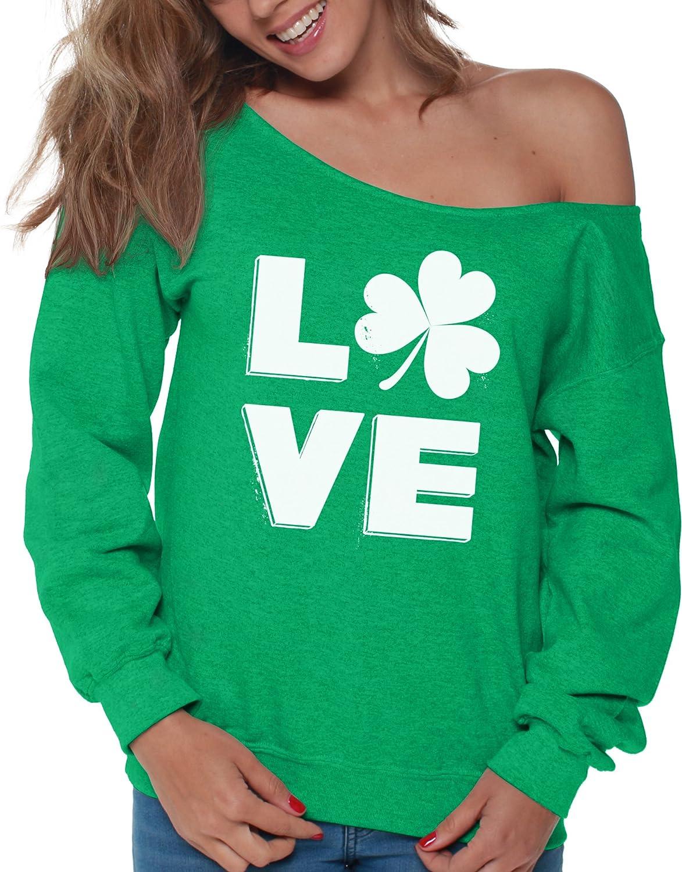 Patricks Day Vizor Clover Leaf Off Shoulder Sweatshirt Shamrock Sweater for St