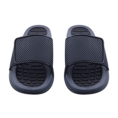 9ae2423fc49c85 Sky Sole Mens Slide Sandals with Adjustable Strap in Black Trim