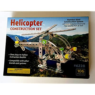Helicopter Construction Set - Stainless Steel Construction System with Anti-Oxidation Finish and Parts & Tools (#6228 - 106 Pieces): Unknown: Toys & Games