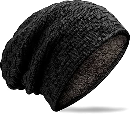 Rock-Music-Art Hat for Men and Women Winter Warm Hats Knit Slouchy Thick Skull Cap Black